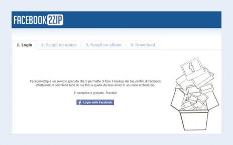 Facebook2zip per scaricare album foto di Facebook