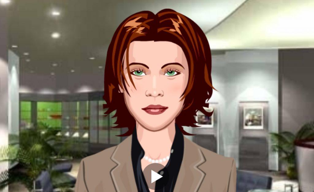 Una delle animazioni di volto femminile proposte da Oddcast, sintetizzatore vocale online